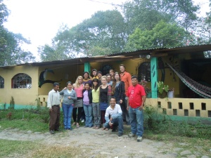 My fellow students along with teachers, caretakers, and coordinators, standing in front of the Mountain School