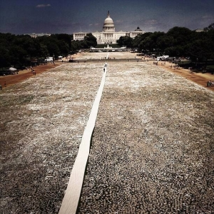 This photography by Teru Kuwayama shows the One Million bones displayed on the National Mall Lawn as a tribute to genocide survivors past and present
