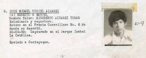 Jose Miguel Gudiel pictured in the Military Diary. Photo Source: The Guatemala Human Rights Commission